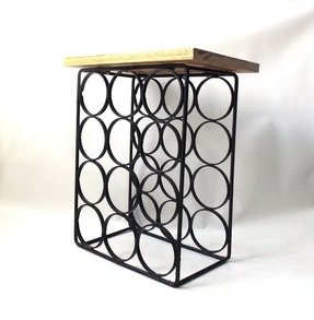 Vintage 1970s wine rack cast iron black
