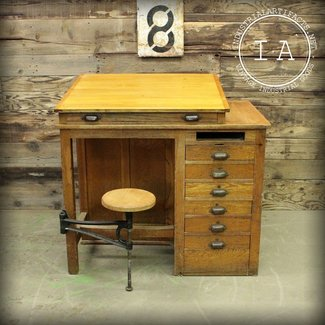 Vintage industrial 7 drawer swing stool wooden drafting table school