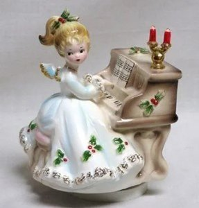 vintage josef originals christmas angel at piano music box silent - Christmas Angel Figurines