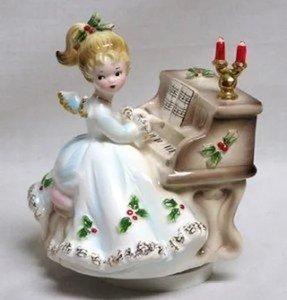 vintage josef originals christmas angel at piano music box silent