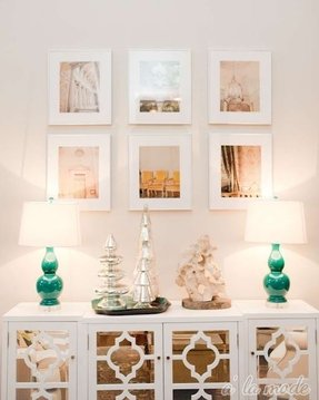 White mirrored buffet cabinet