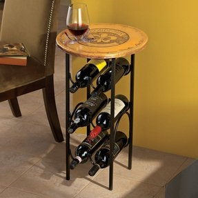 Wine rack made from horseshoes