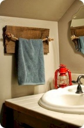 Practical And E Saving Bathroom Solution This Wooden Towel Rack Features A Solid Wall Mounted Construction Based On Piece Of Wood Rope