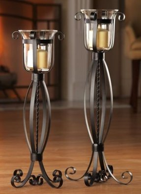 Wrought iron floor candle holders 1