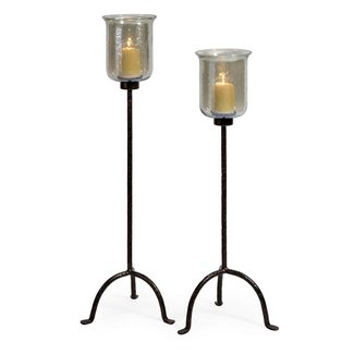 Wrought iron floor candle holders