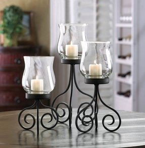 Wrought iron hurricane candle holders 2
