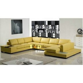 Yellow leather sectional 1
