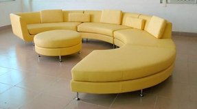 Yellow leather sectional 2