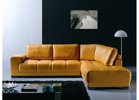 Yellow leather sectional 3