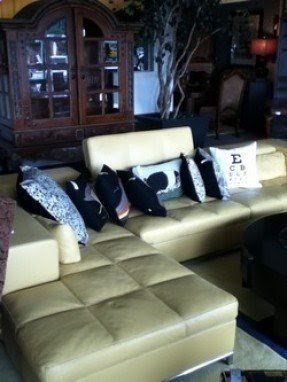 Yellow Leather Sectional Foter
