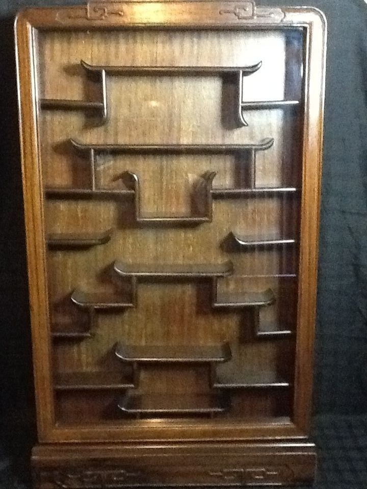 Antique Chinese Rosewood Wall Mount Curio Cabinet 37 5in H X 23in L X 4 5in D