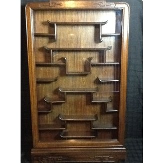 Antique Chinese Rosewood Wall Mount Curio Cabinet 37 5in H