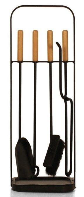 Austrian Wrought Iron Birch Handled Fire Tools