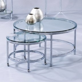 Bassett mirror patinoire modular round coffee table with nested table