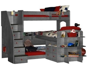Berg furniture utica twin over full trifecta loft 3 beds