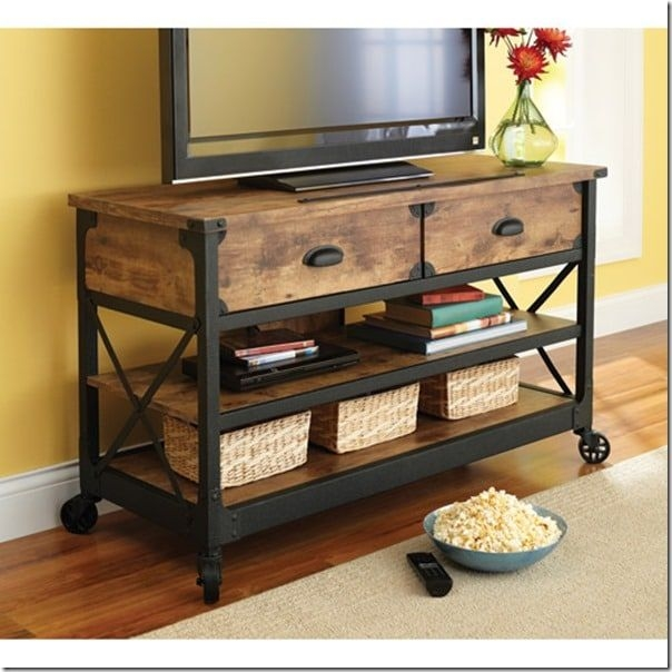 Better=homes And Gardens Rustic Country Antiqued Black Pine Panel Tv St=nd For Tvs Up To 52