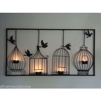 Bird cage wall art tea light candle holder black metal