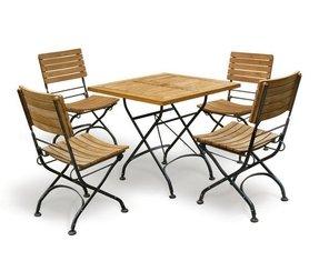 Bistro 4 Seat Square Folding Table Set Jati Brand Quality