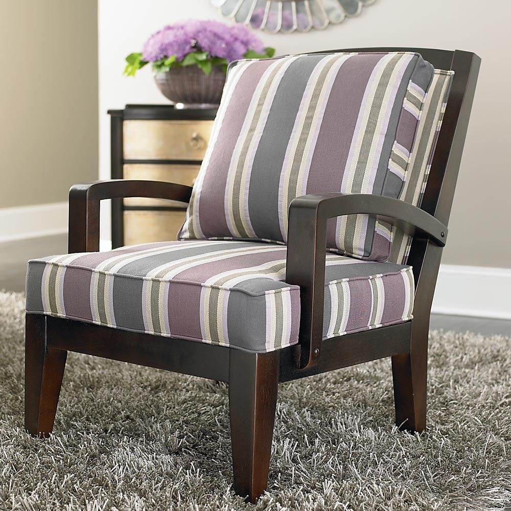 Blue Striped Accent Chair