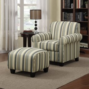 Blue striped chair and ottoman