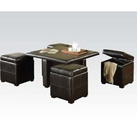 Bon Coffee Table With 4 Storage Ottomans 2