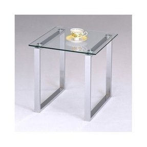 Contemporary Glass Top End Table Chrome Square