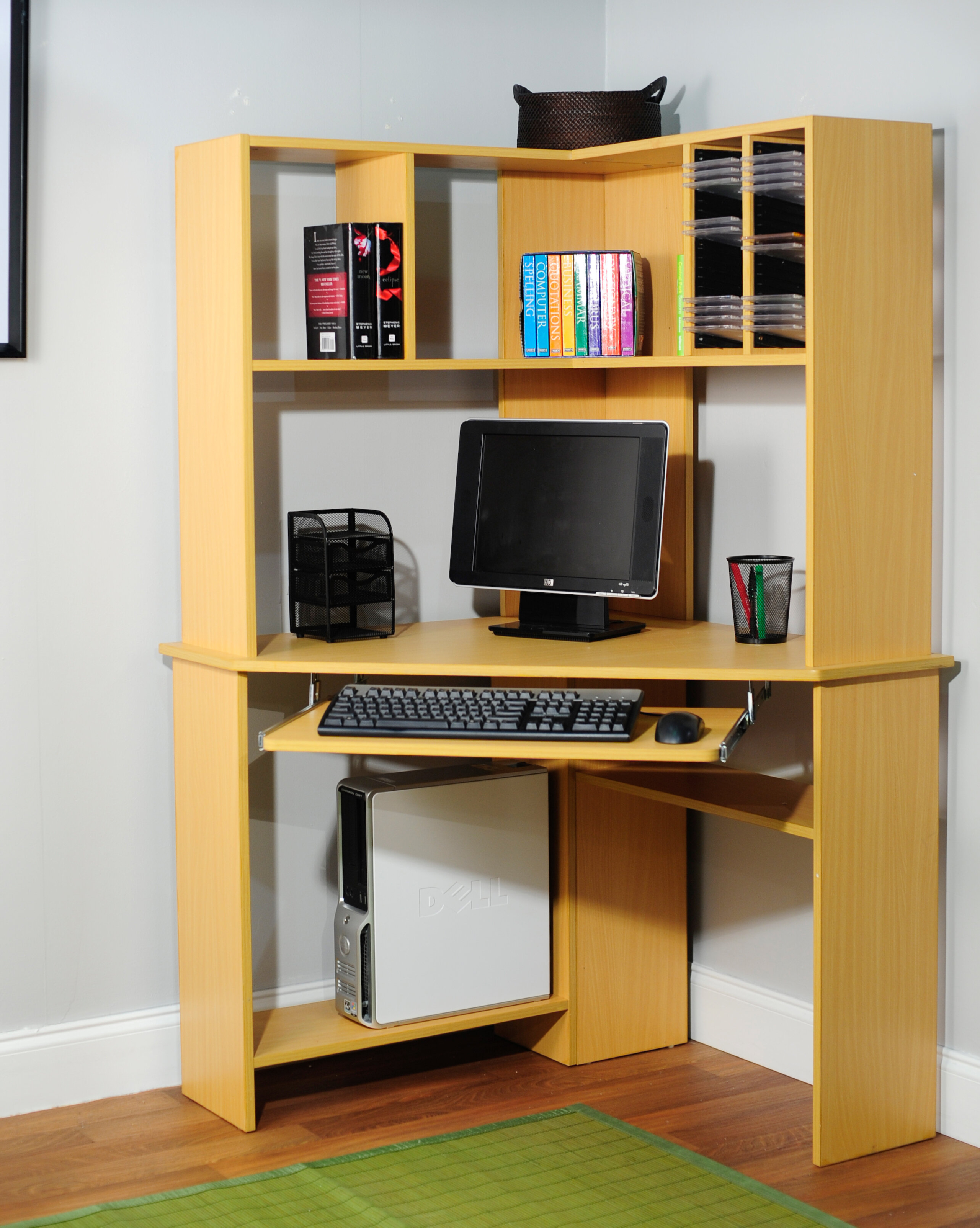 Corner Computer Desk Hutch Modern Dorm Office Home Storage Cd Dvd Book Natural