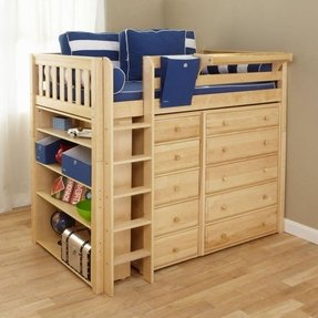 Twin loft bed with storage underneath foter - Diy bunk beds for small rooms ...