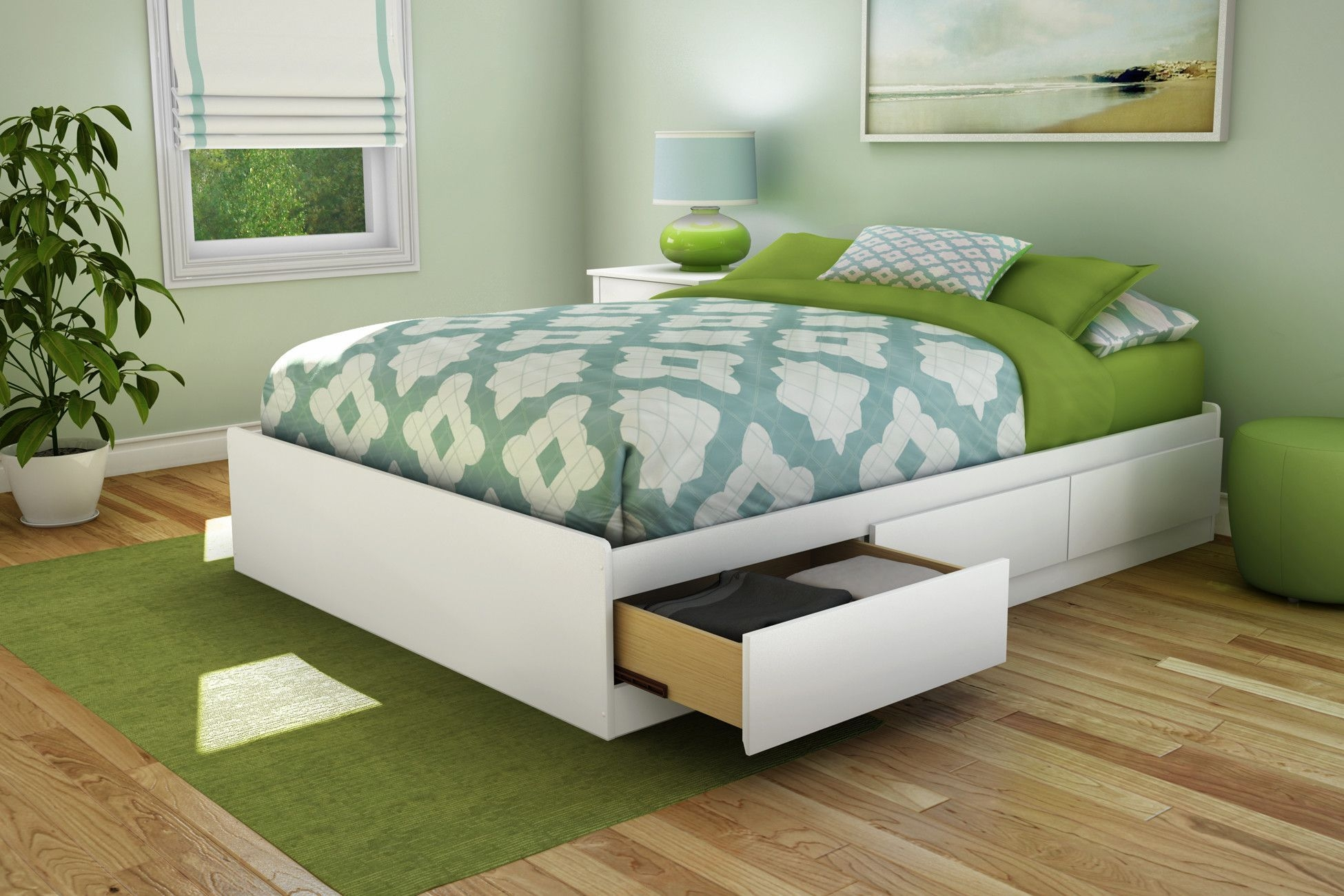 Full Size Bed Frame With Drawers Underneath