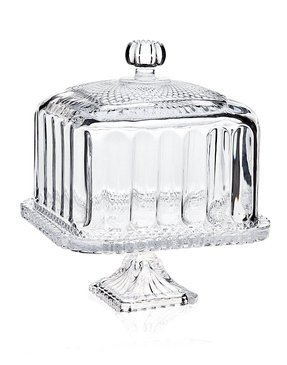 High tea belmont crystal domed cake plate