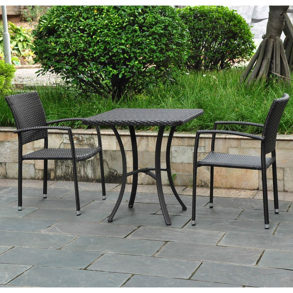 International Caravan Barcelona Resin Wicker Aluminum 28 Inch Square Bistro Table With 2 Armchairs
