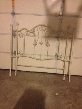 Iron Antique White Headboard Foot Bed Frame Ornate Embellishments Full Size