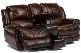 Leather Reclining Sofa With Cup Holders