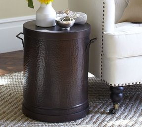 Metal Drum Accent Table Foter