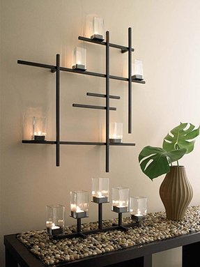 Metal wall art candle holder 1