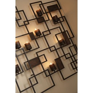 Metal wall art candle holder 2