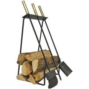 Mid Century Modern Fireplace Tools Log Holder Circa 1960s