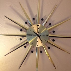 Mid century modern seth thomas sunburst starburst atomic wall clock