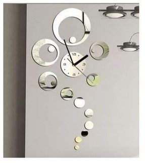 Mirrored Ring Decorative Wall Clock Modern Design Decor Living Room Watches Silver