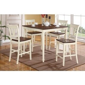 Petrich cherry and cream finished counter height 5 piece dining