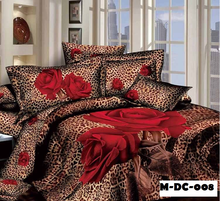 Queens 3d Red Rose Leopard Prints 6pcs Queen King Size