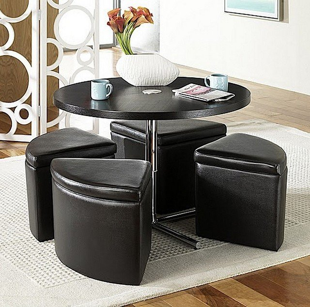 Lovely Round Coffee Table With Storage Ottomans 1
