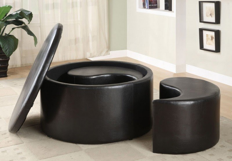 High Quality Round Coffee Table With Storage Ottomans 3