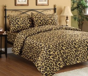 Satin queen size leopard sheet set