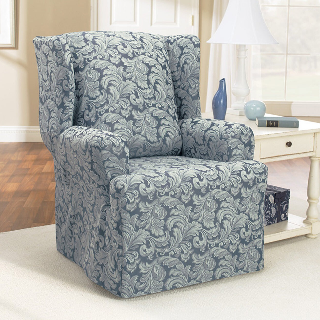 Superieur Scroll Classic Wing Chair T Cushion Skirted Slipcover