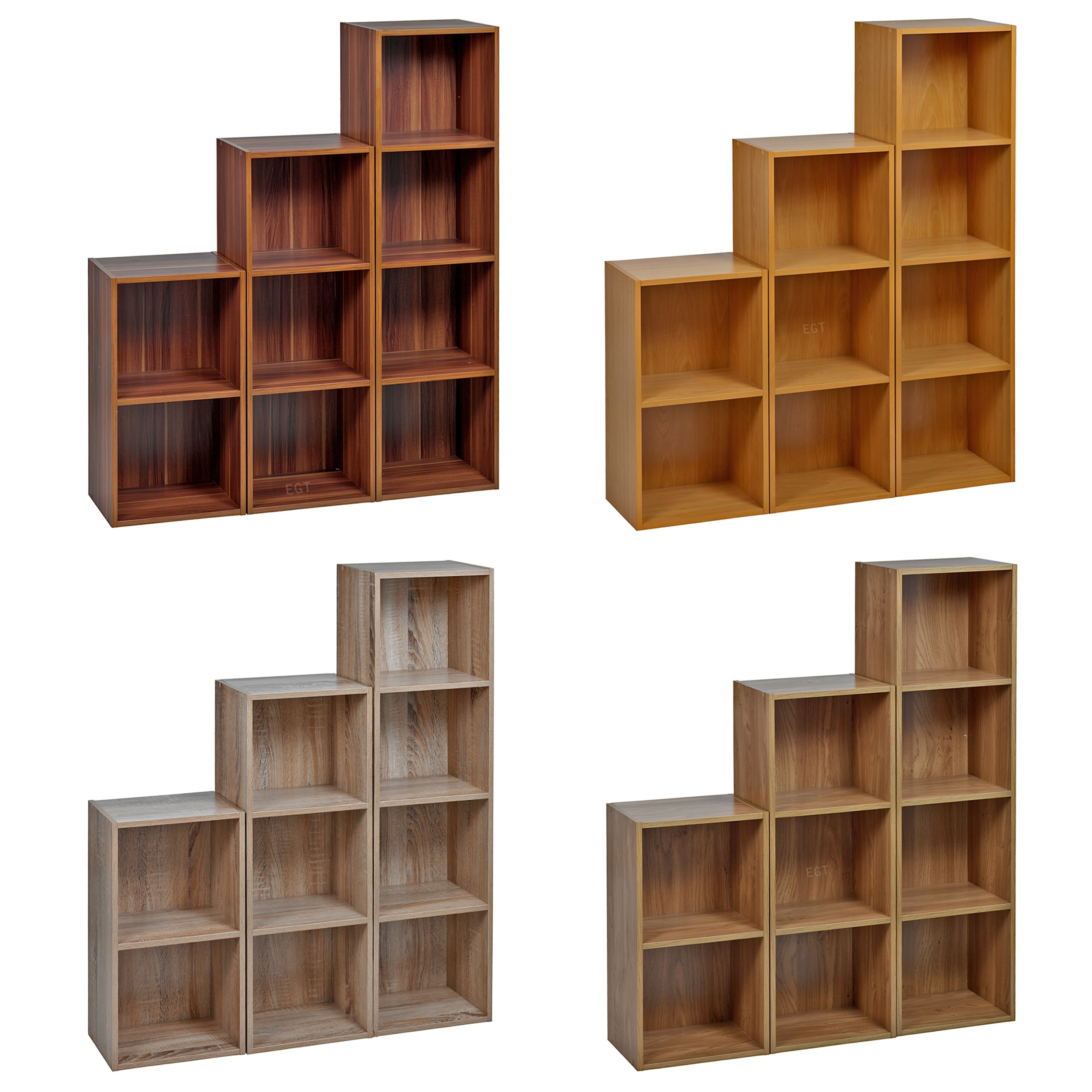 Set of stylish easily assembled wooden cube bookcase shelves ideal