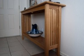 Solid oak console table with drawers