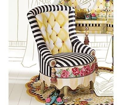 Striped Accent Chair With Arms 7