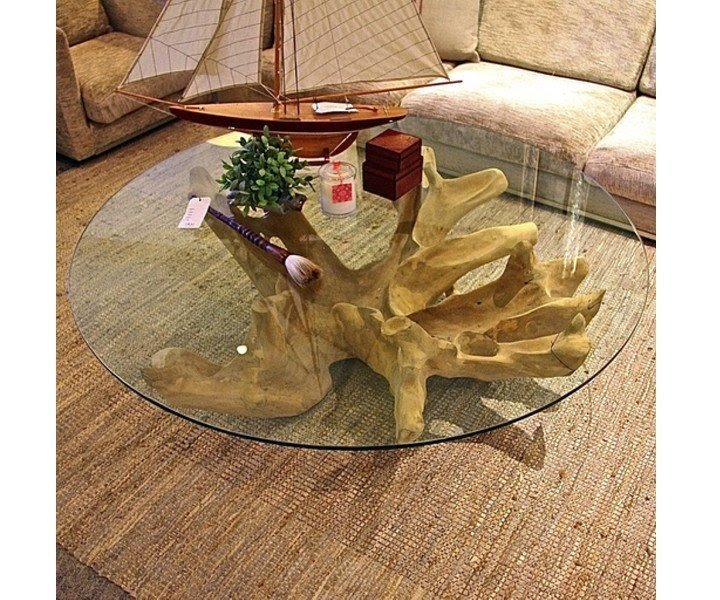Merveilleux Tree Stump Coffee Table With Glass Top