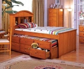 Twin captains bed with trundle and storage 11